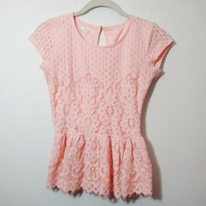Maurices Light Pink Lace Peplum Blouse XS